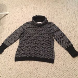 Black and white sweater cowl neck